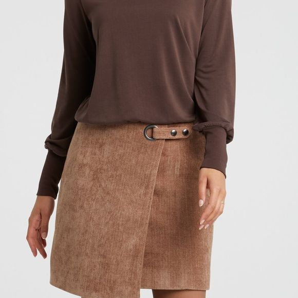 Yaya Trui Modal Blend High Neck With Long Sleeves And Rib Hems Donkerbruin