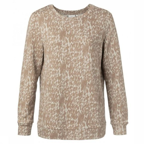 Yaya Trui Round Neck Animal Print Ecru/Zandbruin