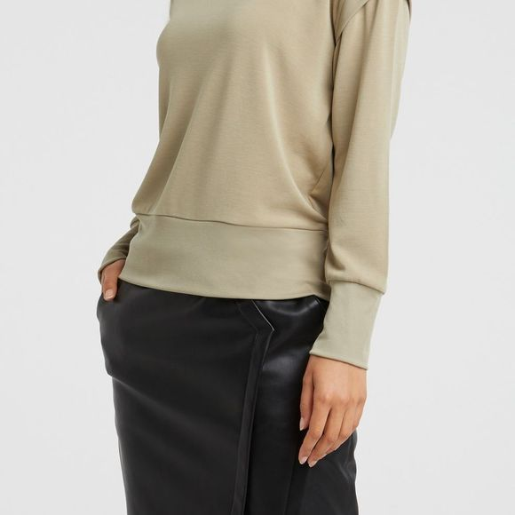 Yaya Pullover Modal Blend Sweatshirt With Rib Shoulder Detail light green