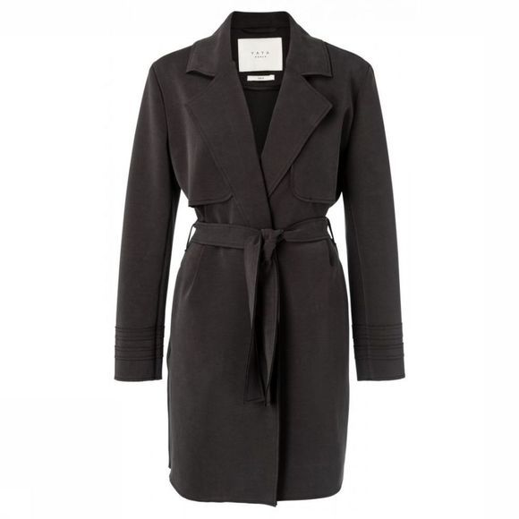 Yaya Jas Jersey Trench Coat Raw Edge Zwart