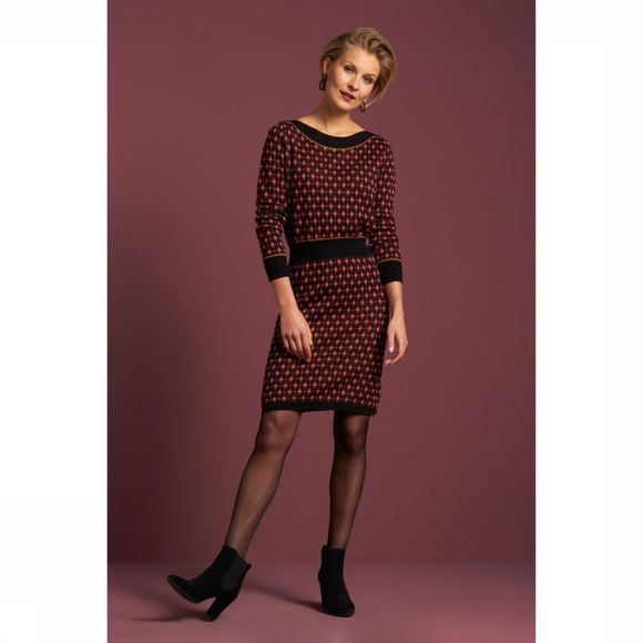King Louie Dress Audrey Diamond black/mid red