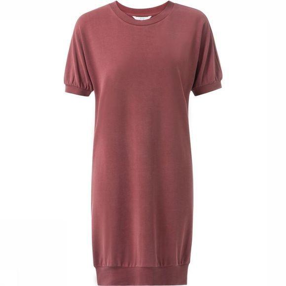 Yaya Robe Ss Puff Slvdress Bordeaux