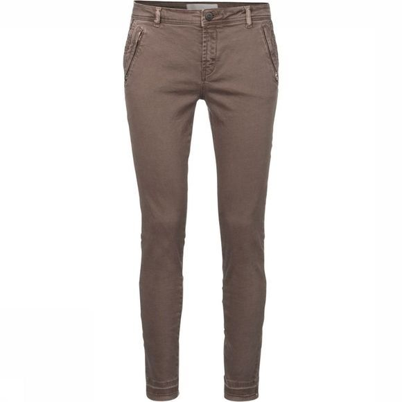 Yaya Broek Colored Twill W. Zippers Taupe