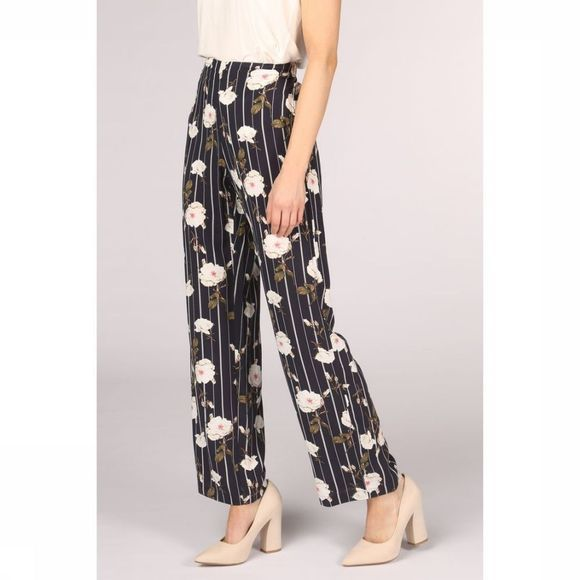 Vero Moda Trousers simply Easy Hw Wide Marine/Assortment Flower