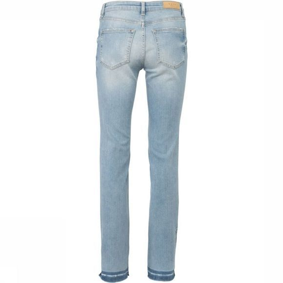 Yaya Jeans Straight Denim W.High Slits Lichtblauw