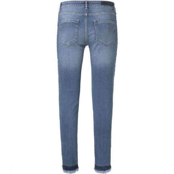 Yaya Jeans Skinny Ankle W.Raw Edge At Side Middenblauw