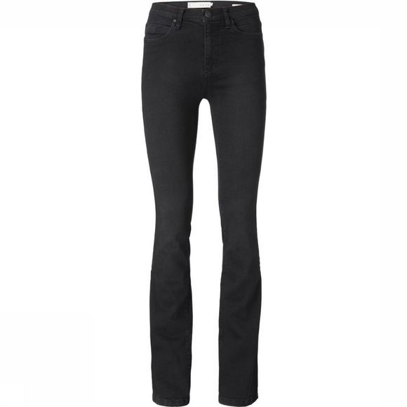 Yaya Jeans High Waist Flare Black Denim 32 Length Zwart