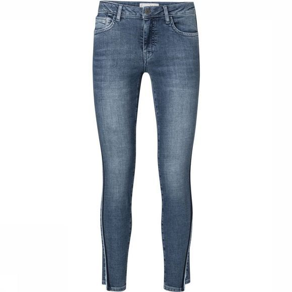 Yaya Jeans Skinny Denim W. Embroided Tape And Uneven Hem Donkerblauw
