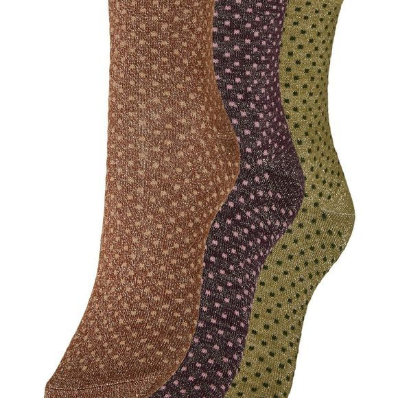 Vero Moda Kous Vmglam Mini Dot Socks 3-Pack Middengroen/Roest