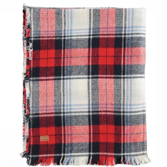 Pepe Jeans Sjaal Letha Scarf Poly Middenrood/Gebroken Wit