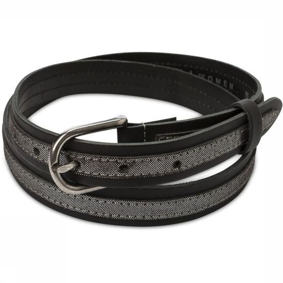 Yaya Riem Leather Belt With Metallic Tape Zwart