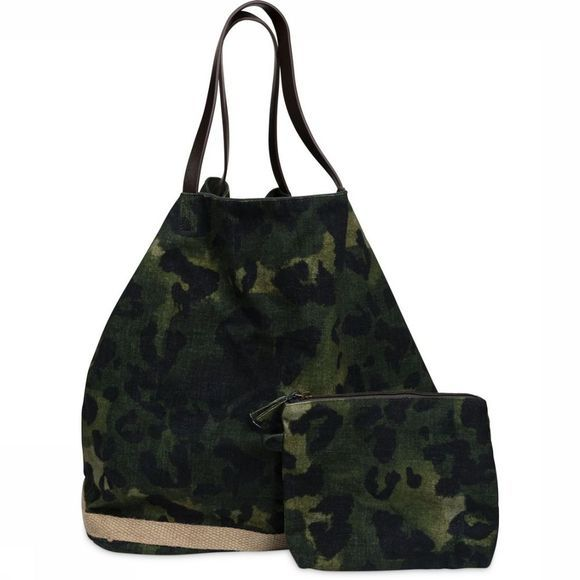 Yaya Tas Reversible Bag With Leopard Print Middenkaki/Lichtkaki
