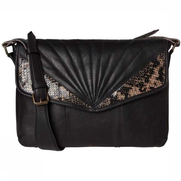 Pieces Sac conner Leather Crossbody Noir/Brun moyen
