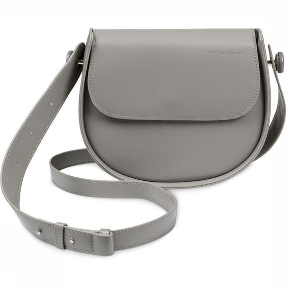 Yaya Tas Faux Leather Crossbody Saddle Yaya Logo Lichtgrijs