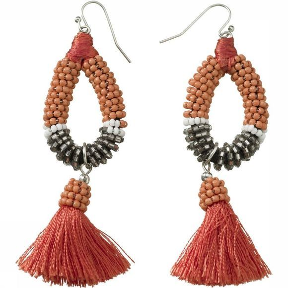 Yaya Oorbel Earrings With Beads And Small Tassels Oranje