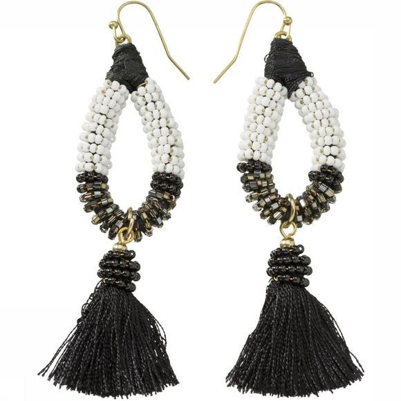 Yaya Oorbel Earrings With Beads And Small Tassels Zwart/Gebroken Wit