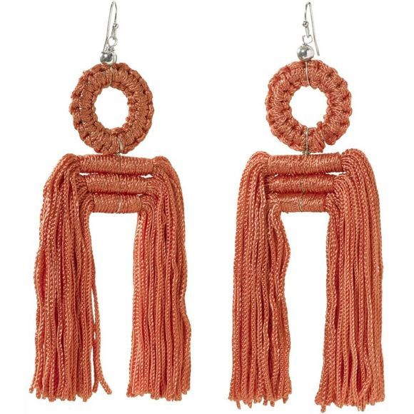 Yaya Oorbel Earrings With Fringes Oranje