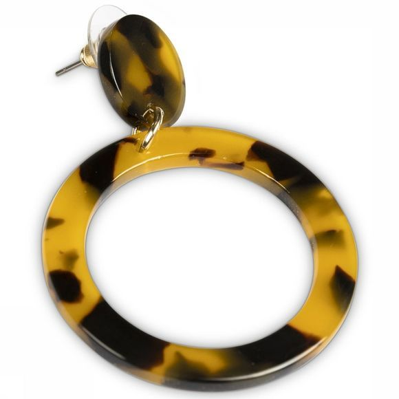 Yaya Oorbel resin Circle Drop Goud