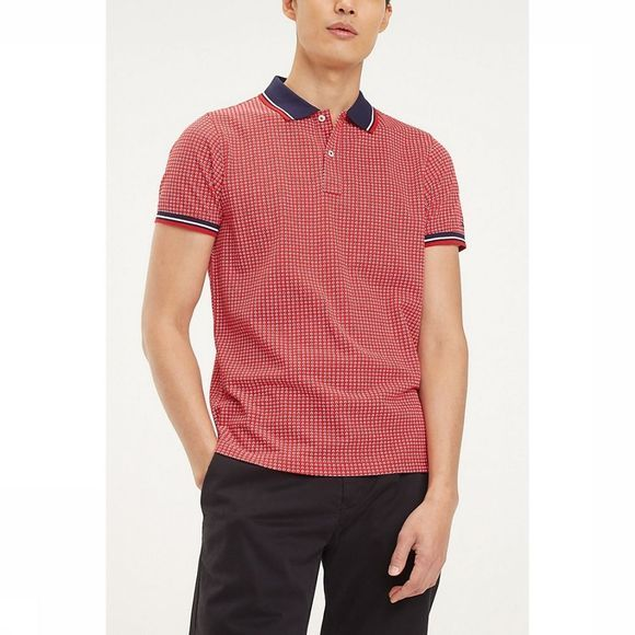 Tommy Hilfiger Polo Micro Print Slim Middenrood/Assortiment Geometrisch