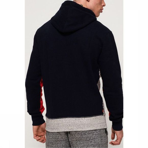 Superdry Pullover Trophy Micro Aop Track Hood Light Grey Mixture/Dark Blue