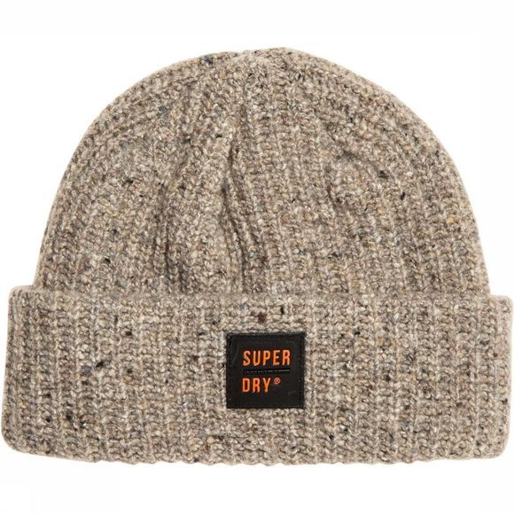 Superdry Bonnet Surplus Tweed Beanie Blanc Cassé