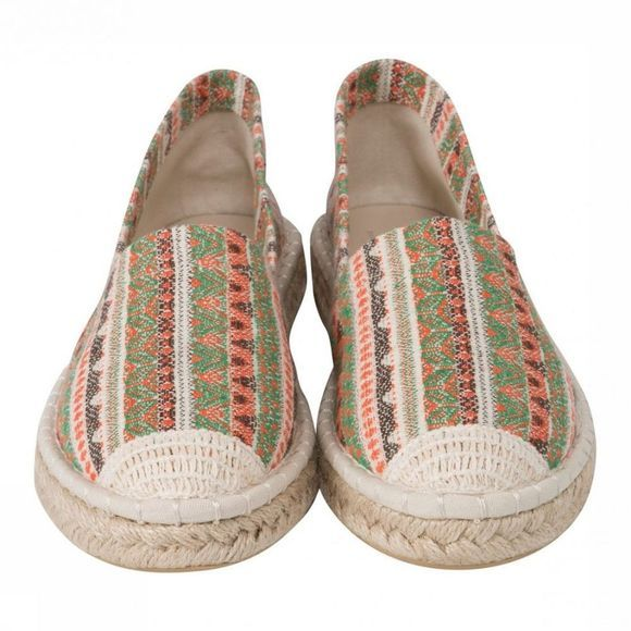 Yaya Schoen Jaquard Striped Espadrille Zandbruin/Middenrood