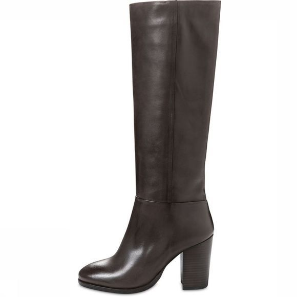 Yaya Laars High Leather Boot Donkerbruin