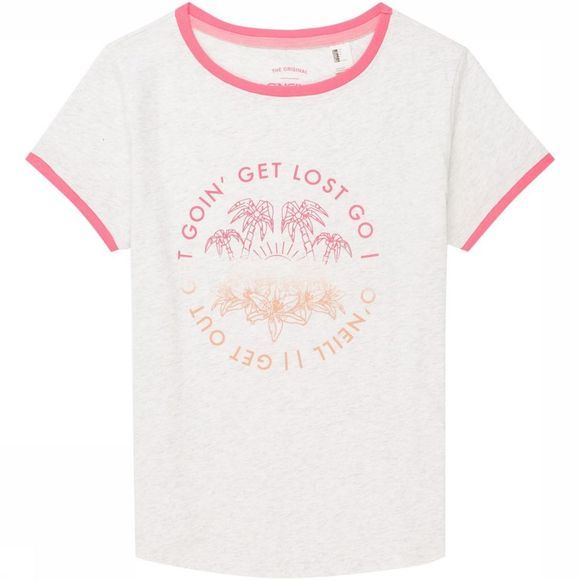 O'Neill T-Shirt Lg Palm Trees Wit/Middenroze