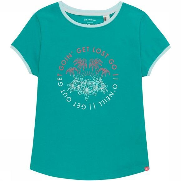 O'Neill T-Shirt Lg Palm Trees Turquoise