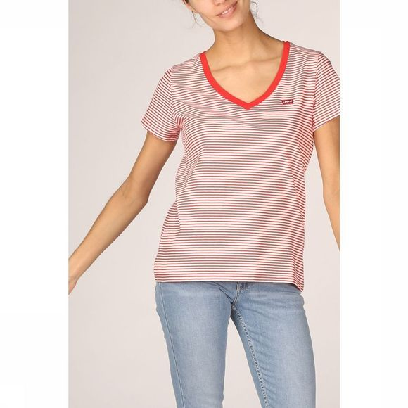 Levi's T-Shirt Perfect Vneck Wit/Middenrood