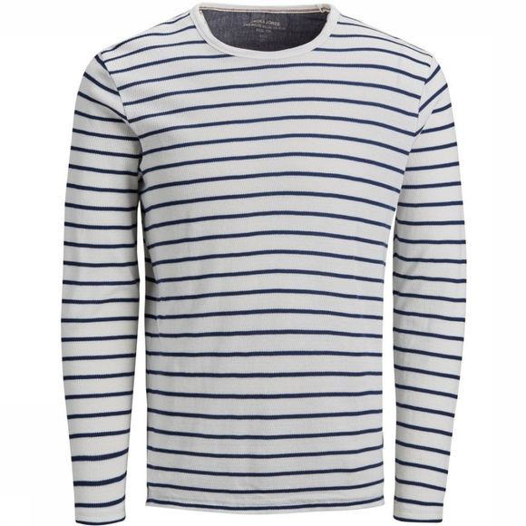 Jack & Jones T-Shirt prohannes Blu. Tee Ls Crew Neck unior white/dark blue