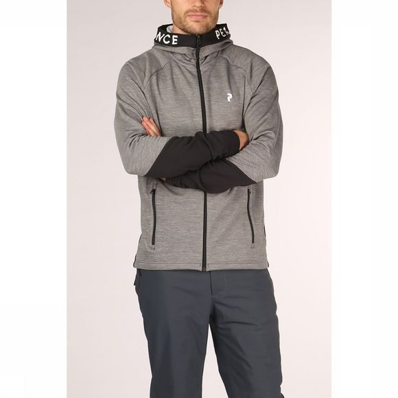 Peak Performance Fleece Ride Melange Zip Hood Dark Grey Mixture
