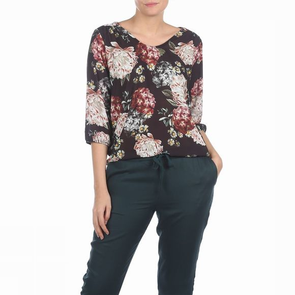 B.Young Blouse Goria V Neck Blouse 3 Zwart/Assortiment Bloem