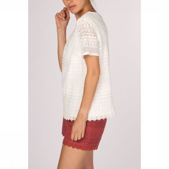 Vero Moda Blouse honey Lace Ss Vip Gebroken Wit