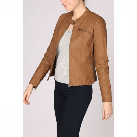 Only Blazer flora Faux Leather Jacket Cc Otw Kameelbruin