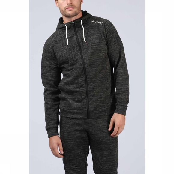 First Trui Ethan Sweat Zip Hood Donkergrijs Mengeling