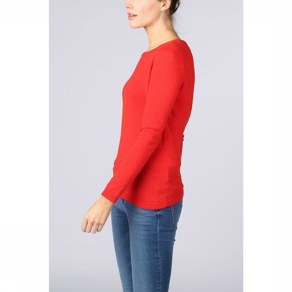 Vero Moda Basics Trui care Structure Ls O-Neck Middenrood