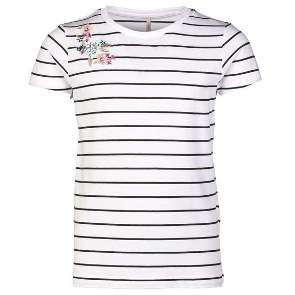 Kids Only T-Shirt eva S/S Embroidery Stripe Wit/Donkerblauw