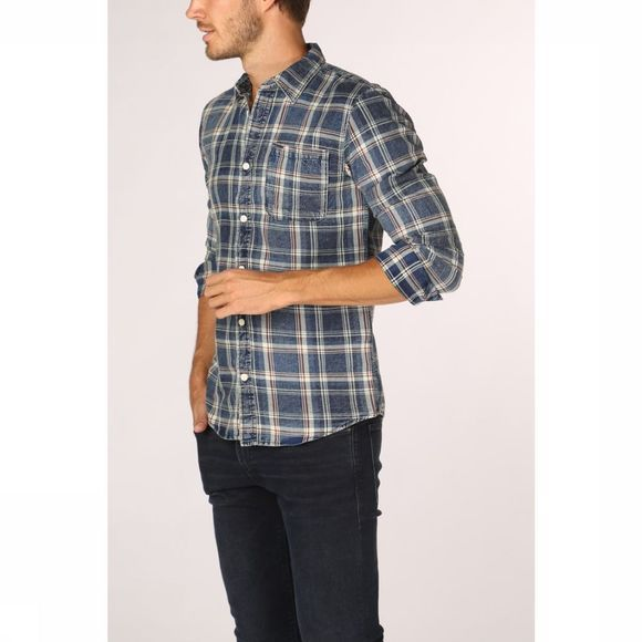 Only&Sons Hemd storm Check Middenblauw/Lichtblauw