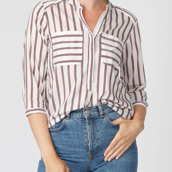 Vero Moda Blouse erika Stripe 3/4 E10 Color Wit/Bordeaux