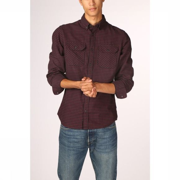 Jack & Jones Hemd Jcorussel Shirt Ls Worker Bordeaux/Donkerblauw