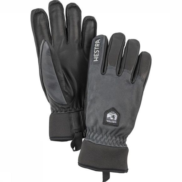 Hestra Glove Army Leather Wool Terry dark grey/black