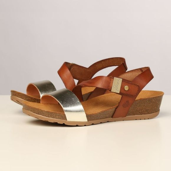 Yokono Sandal Capri 042 mid brown/gold
