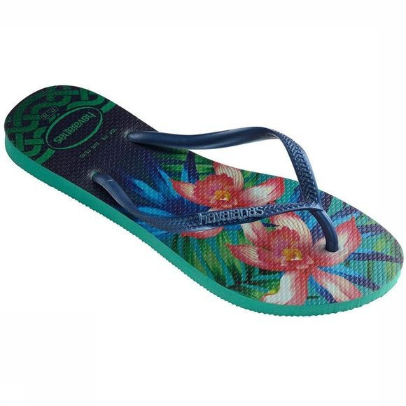 Havaianas Flip Flops Slim Tropical mid green/Assortment Flower