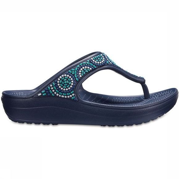 Crocs Slippercs Sloane Emellished Flip Beaded Donkerblauw
