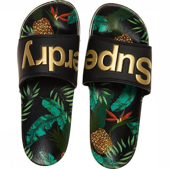 Superdry Slipper Beach Slide Zwart/Assortiment Bloem