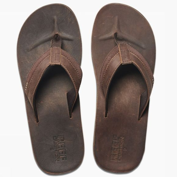 Reef Slipper Leather Cntrd Cushon Donkerbruin