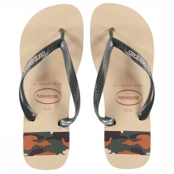 Havaianas Slipper Top Stripes Logo Zandbruin/Middenkaki