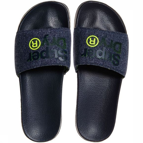 Superdry Slipper Lineman Pool Slide Marineblauw/Lime