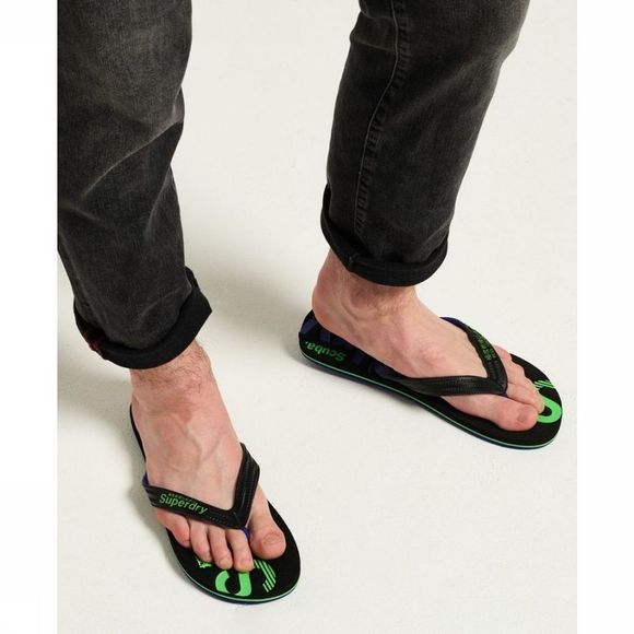 Superdry Tongs Scuba Faded Logo Flip Flop Noir/Vert
